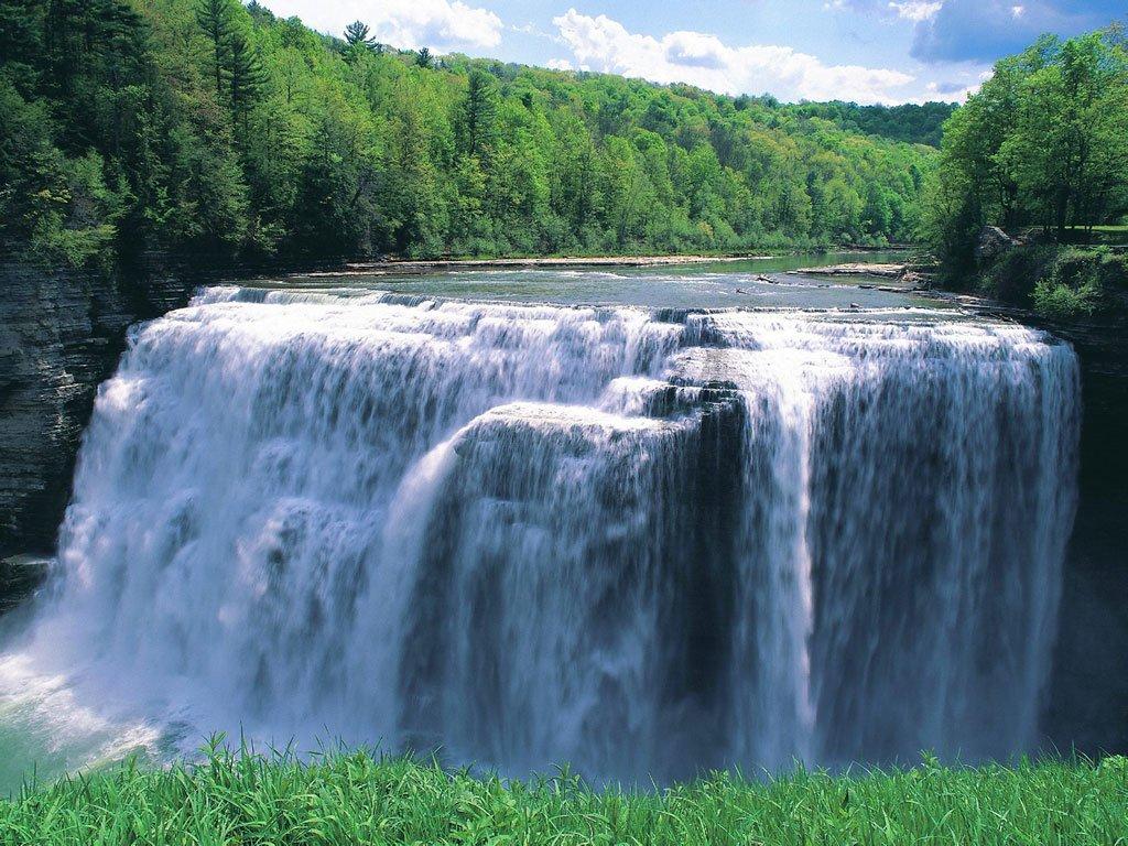 Водопад Letchworth state park в Нью Йорке, красивые фотографии природы, красивые обои на рабочий стол, заставки Windows