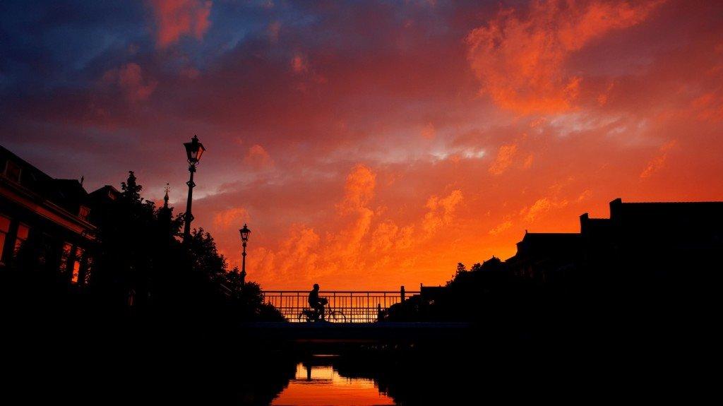 каналы,город,закат,вода,солнце
