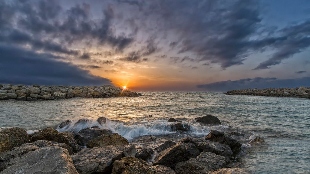 море,солнце,закат,камни,фотография,обои