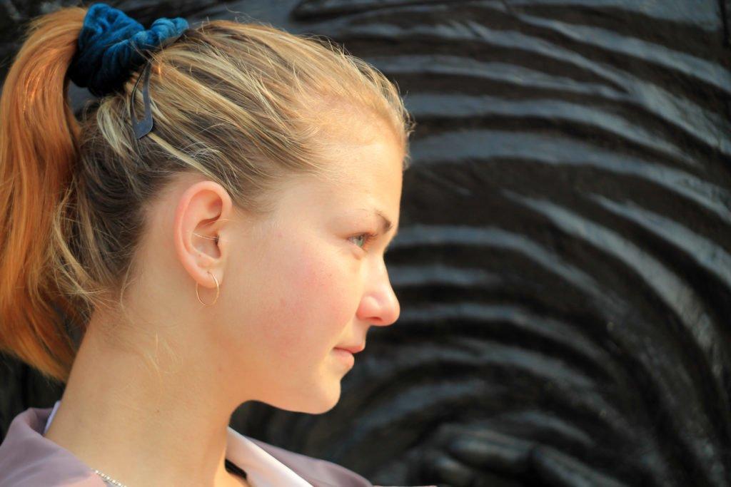 портрет, профиль, Диана, черный, фон, canon