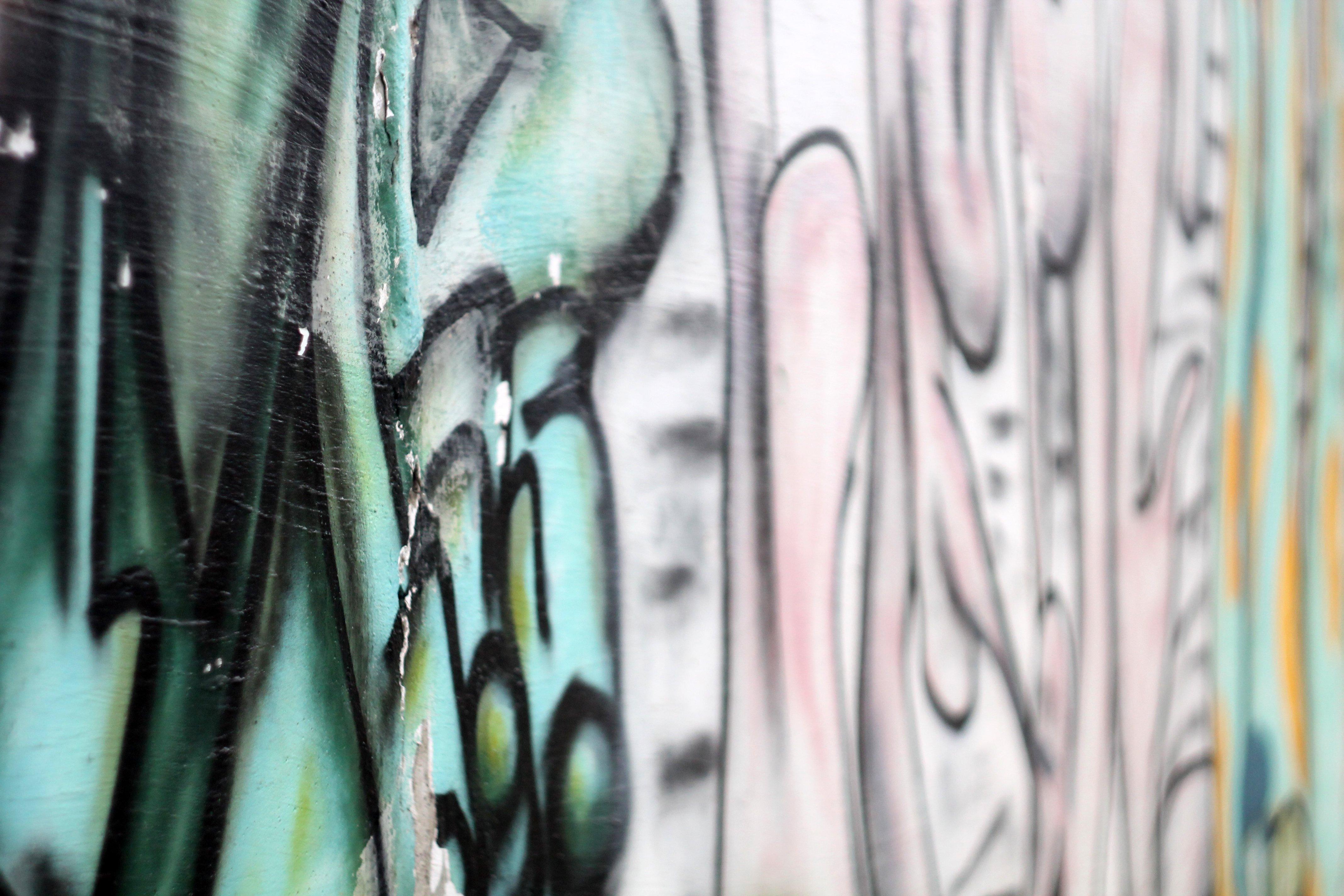 граффити, фон, портрет, стена